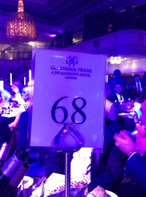 Folded Wing's table number, the lucky number 68!