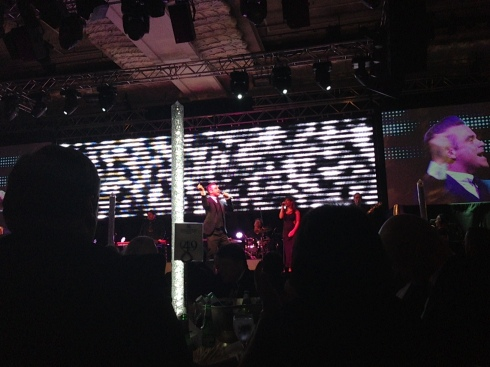 Robbie performing at the Sony Radio Academy Awards 2013